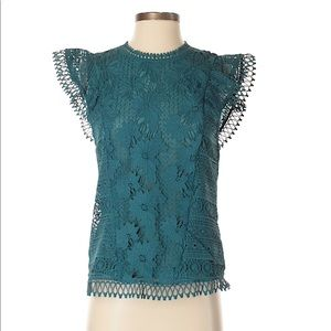 Teal lace blouse (Anthropologie)